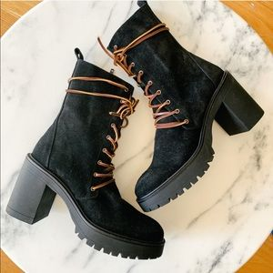 Free People Dylan Lace up Heel boot in Black